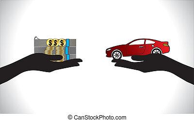empréstimo carro, pagamento, comprando, câmbio