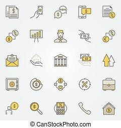 empréstimo, coloridos, ícones