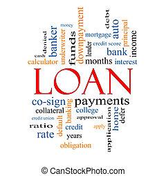 empréstimo, conceito, palavra, nuvem