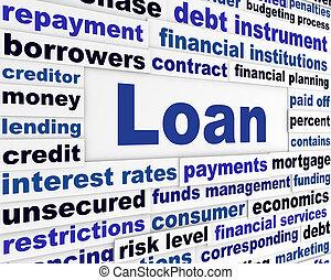 empréstimo, criativo, operação bancária, conceito