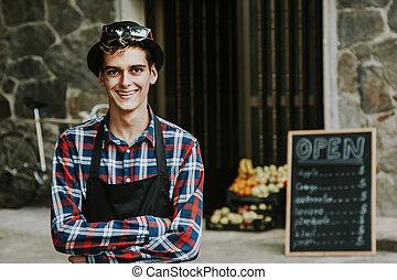 empreendedor, homem, sorrindo, frente, negócio