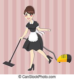 empregada, encantador, dona de casa