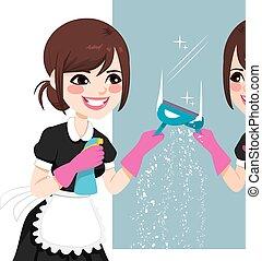 empregada, limpeza, asiático, espelho
