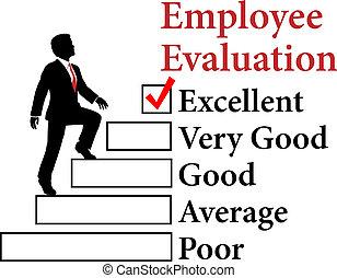 empregado, avaliação, negócio, melhorar