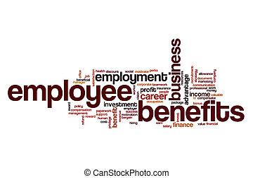 empregado, benefícios, palavra, nuvem, conceito