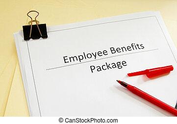 empregado, caneta, benefícios, vermelho, pacote