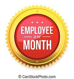 empregado, de, a, mês, distinção, emblema