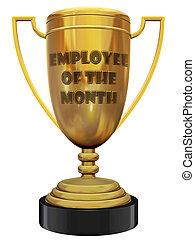 empregado, de, a, mês, troféu