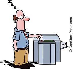 empregado, em, a, copie máquina