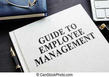 empregado, escritório., gerência, guia