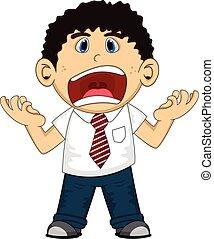 empregado, gritando, caricatura