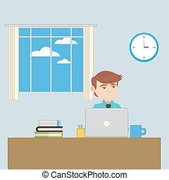 empregado, local trabalho, escritório
