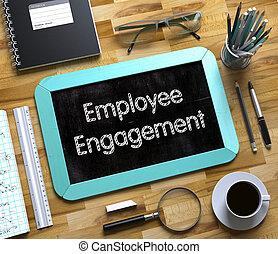 empregado, obrigação, conceito, ligado, pequeno, chalkboard., 3d.