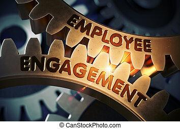 empregado, obrigação, concept., dourado, gears., 3d, illustration.