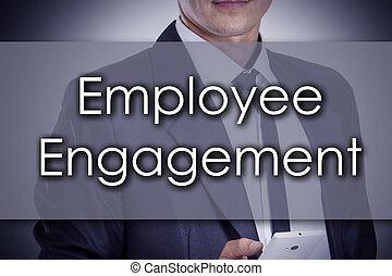 empregado, obrigação, -, jovem, homem negócios, com, texto, -, conceito negócio