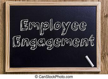empregado, obrigação, -, novo, chalkboard, com, 3d, esboçado, texto