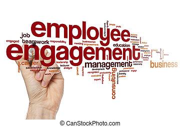 empregado, obrigação, palavra, nuvem, conceito