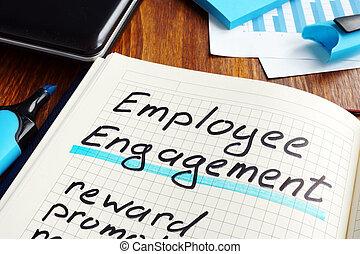 empregado, obrigação, plano, ligado, um, book., comprometer, workers.
