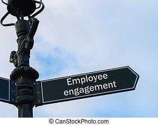 empregado, obrigação, sinal direcional, ligado, guidepost