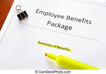 empregado, texto, documento, benefícios, highlighed