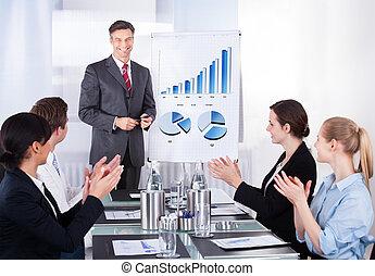 empregados, apreciar, gerente, em, conferência