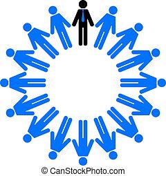 empregados, círculo, gerente