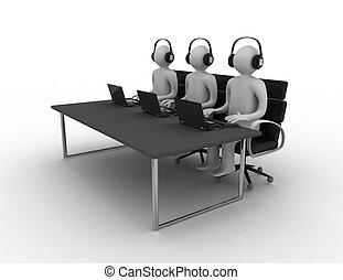 empregados, centro chamada, trabalhando