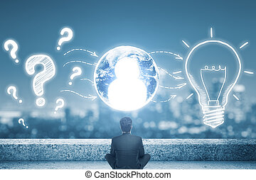 empregados, com, criativo, idéias