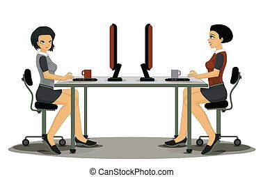 empregados, mulheres, trabalhando