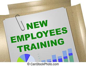 empregados, novo, treinamento, conceito