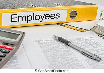 empregados, pasta, etiqueta