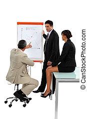 empregados, reunião, três, negócio