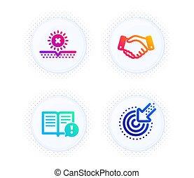 empregados, sinal., information., set., sol, mão, proteja, escolha objectivos, negócio, uv, vetorial, importante, aperto mão, fatos, não, ícones