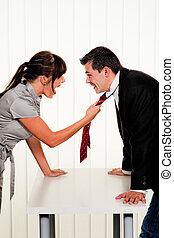 empregados, trabalho, escritório, disputa