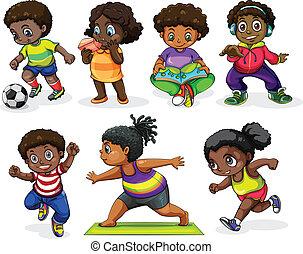 empregando, atividades, diferente, crianças, africano