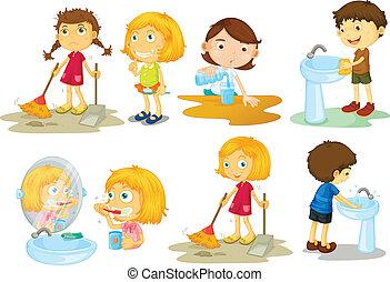 empregando, atividades, diferente, crianças