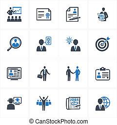 emprego, e, ícones negócio