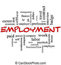 emprego, palavra, nuvem, conceito, em, vermelho, bonés