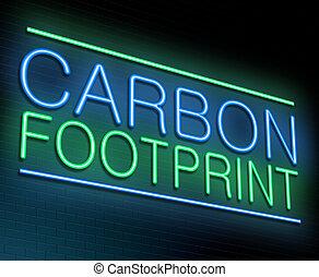 empreinte, carbone, concept.