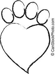 empreinte, coeur, animal