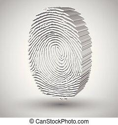 empreinte doigt, vecteur, illustration, 3d