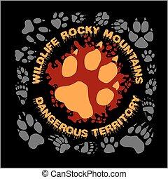 empreinte, loup, emblème, t-shirt