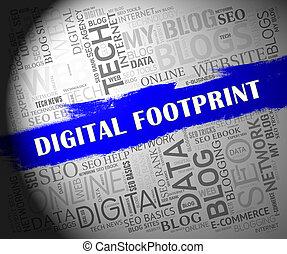 empreinte, piste, site web, numérique, cyber, 2d, illustration