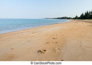 empreinte, plage sable