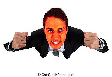 empresário bravo, com, vermelho, explodindo, rosto