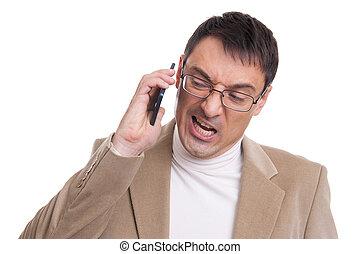 empresário bravo, gritando, ligado, telefone móvel