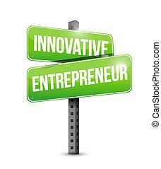 empresário, inovador, sinal estrada