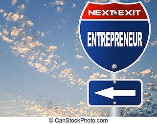 empresário, sinal estrada
