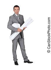 empresário, sorrindo, fundo branco