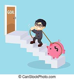 empresários, escada, alcance, meta, escalar